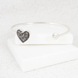 NEW Heart Bangle - Silver