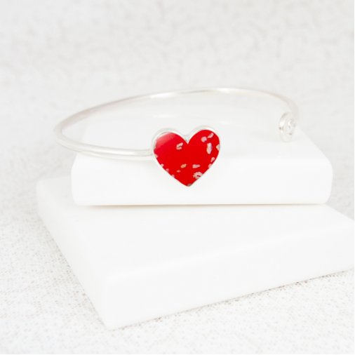 NEW Heart Bangle - Silver