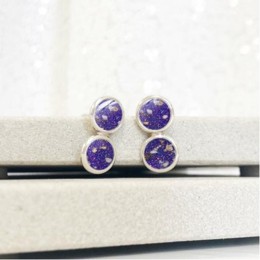 Two Tier Stud Earrings - Silver