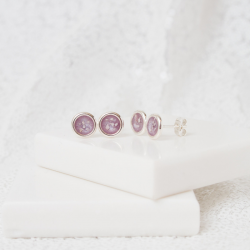 Two Tier Stud Earrings - Silver