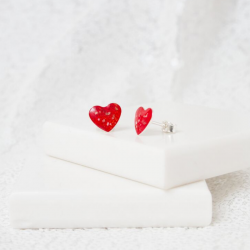 Heart Stud Earrings - Silver