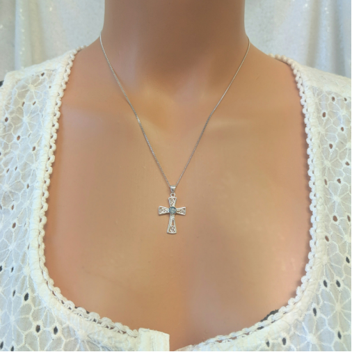 Filigree Cross Necklace - Silver