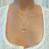 Heart Cross Necklace - Silver