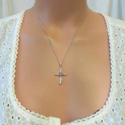 Heart Cross Necklace - Silver